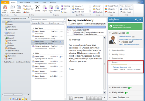 Outlook for Salesforce CRM synk kontakter