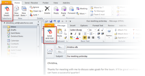 Outlook for Salesforce CRM synk mail